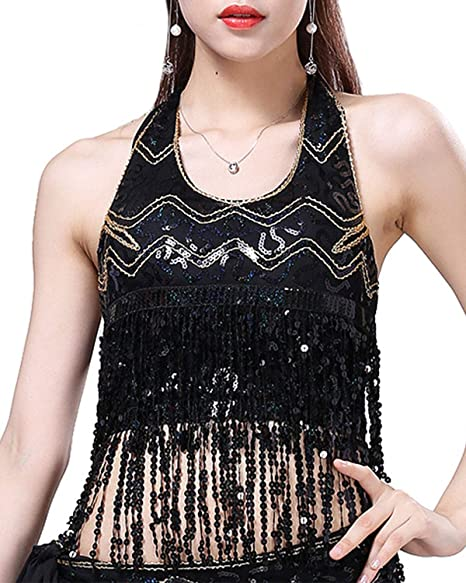 6b132e1c4d42b8 Anlydia Womens Glitter Sequin Tassel Halter Crop Top Sexy Latin Belly Dance  Sequin Bra Party Club
