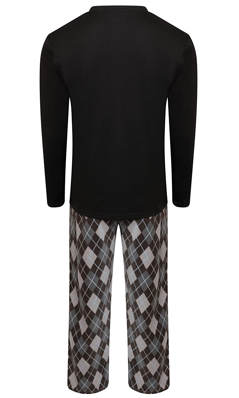 e4b1969fd6 Mens Warm Fleece Jersey Winter PJ Pyjama Set Night Wear PJ s Pyjamas Sets   Amazon.co.uk  Clothing