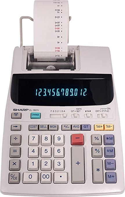 Adding Machine Calculator Black and Red Cartridge