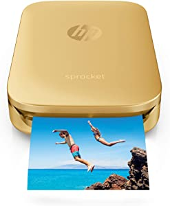 HP Sprocket Portable Photo Printer – Print Social Media Photos on 2x3 Sticky-Backed Paper – Gold (Z3Z94A)