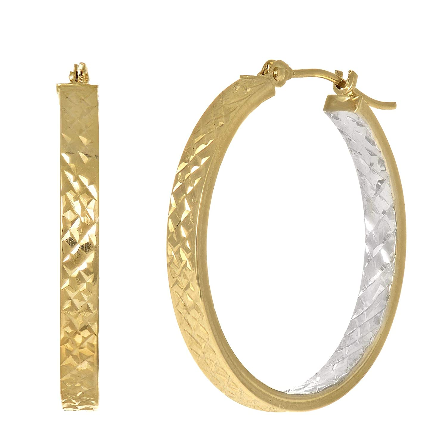 14K or 10K Yellow /& White Gold 3x25mm Diamond Cut Hoop Earrings with Hinged by Icedtime