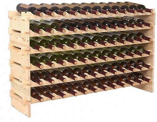 ZENY Wine Rack 72 Bottles Holder Stackable Storage 6 Tier Solid Wood Display Shelves 1