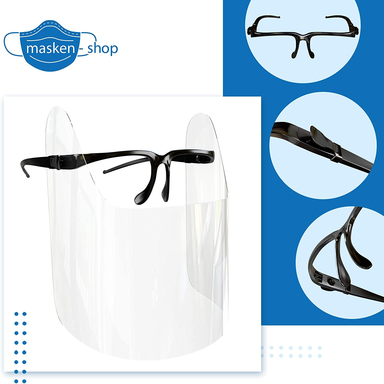 HMS Gesichtsschild Face Shield Schutzvisier Brillenschild mit Brillengestell