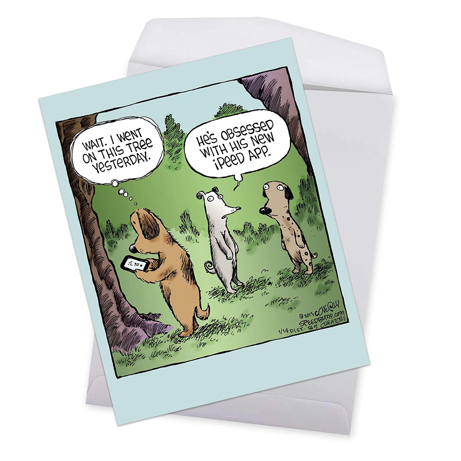 Amazon Jumbo Humorous Birthday Greeting Card Ipeed App Showing Dogs Using A Useful Cell Phone With Envelope Big Size 85 X 11 Inch J2621BDG