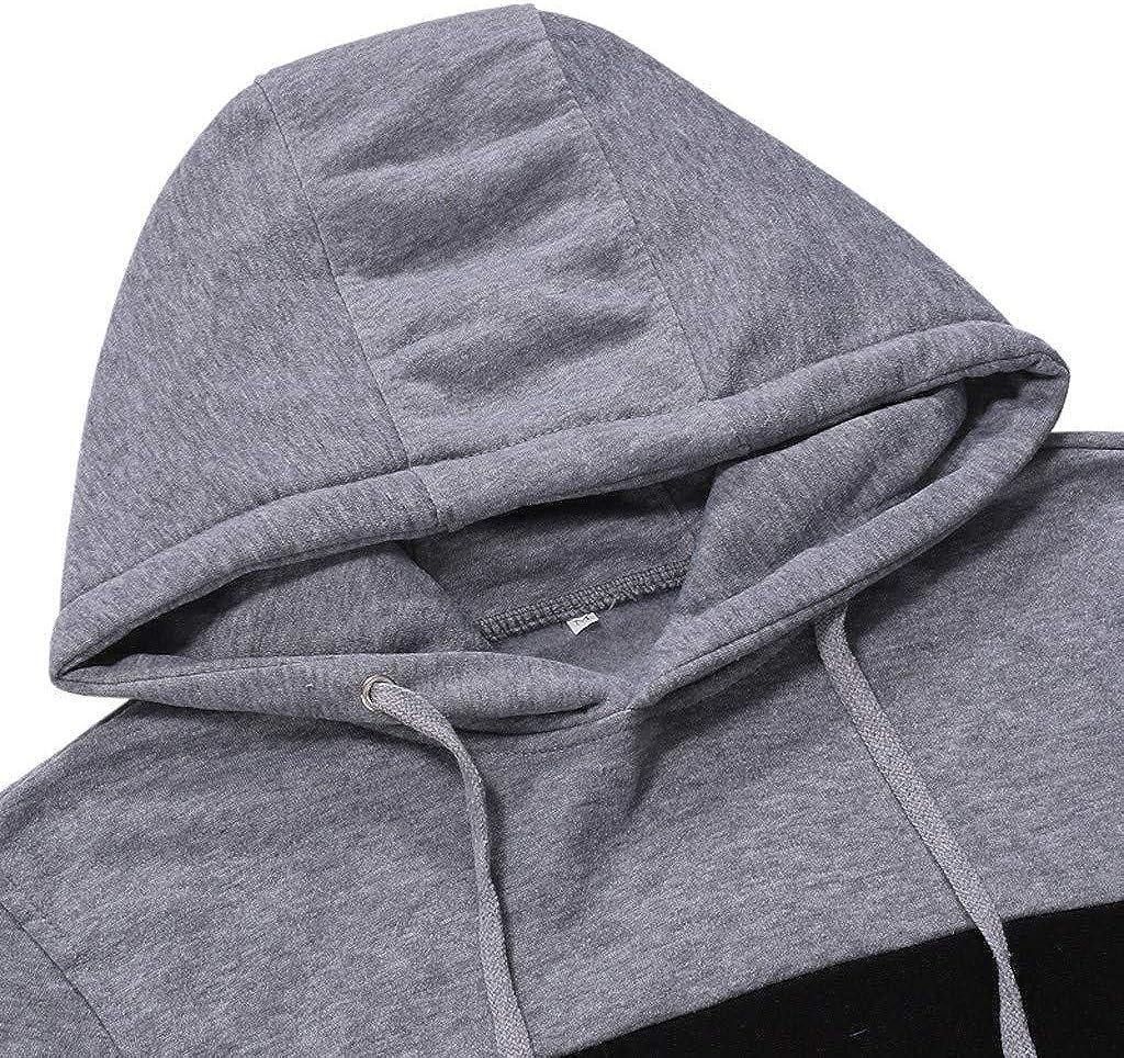 Eoeth Slim Fit Drawstring Coat Sweatshirt for Men Hooded Patchwork Outwear Exercise Fitness Hoodie Long Sleeve Pocket Tops