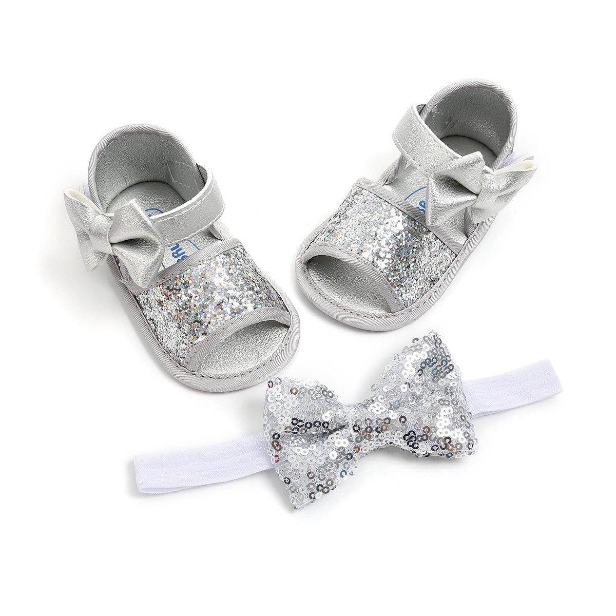 Isbasic Baby Girls Summer Sandals Pu Leather Rubber Sole Antiskid First Walking Shoes (0-6 Months, 1820-silver)