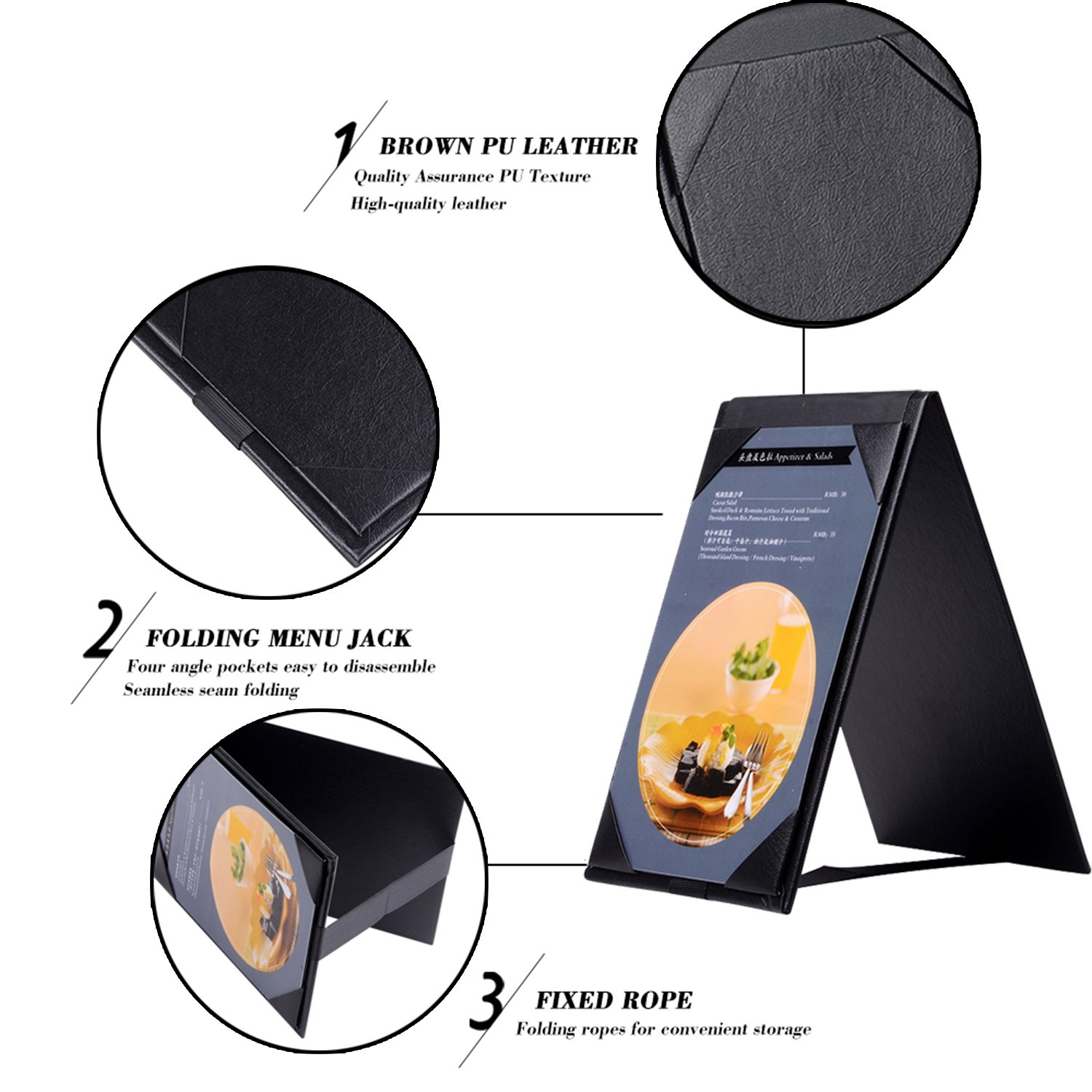 20PCSLeather Table Tent / Menu Holder/ Menu Covers for Specials Drinks or Restaurant Black (6''×4'' inch) by WFD.L (Image #2)