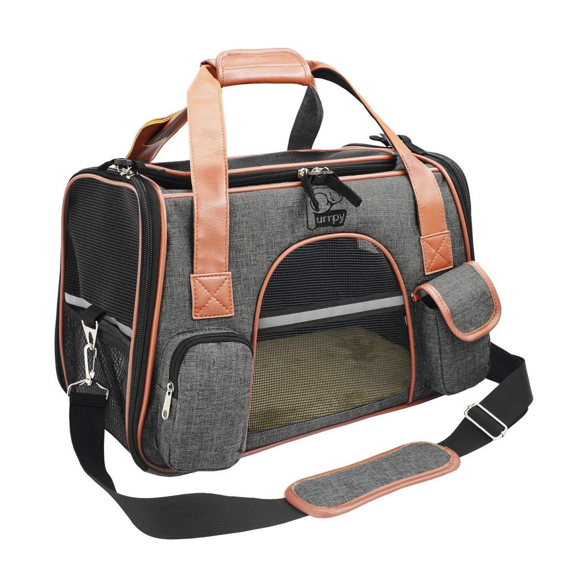 Purrpy Premium Cat Dog Carrier Airline Approved Soft Sided Pet Travel Bag, Car Seat Safe Carrier Deep Grey