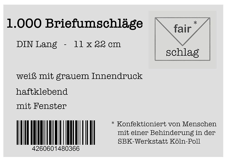 mit Fenster wei/ß mit grauem Innendruck 10 Briefumschl/äge haftklebend Din Lang