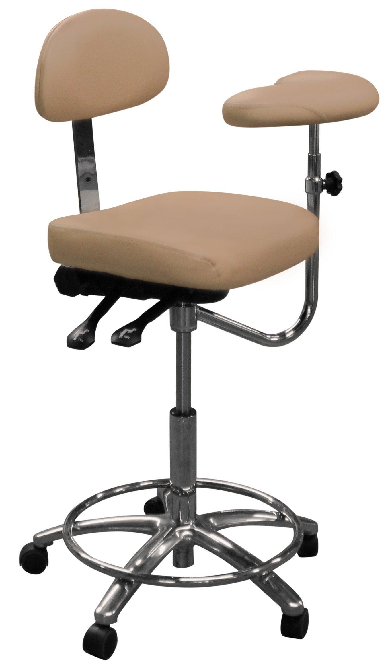 Dentists Unite 507-26 Dental Assistant Stool, Tilt, Rectangular Seat, Cloud Grey