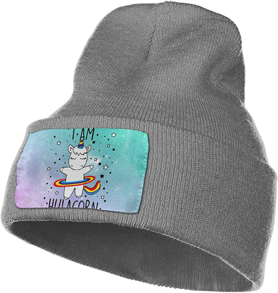 Unicorn I Am Hulacorn Hat for Men and Women Winter Warm Hats Knit Slouchy Thick Skull Cap Black