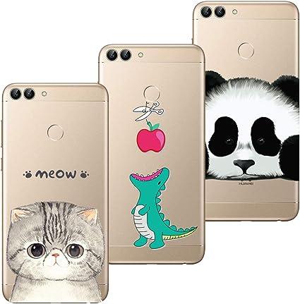 HopMore 3X Coques Silicone pour Huawei P Smart 2018 Transparente Motif Panda Chat Kawaii Fleur Coque Souple Etui Antichoc Ultra Mince Fine Case Étui ...