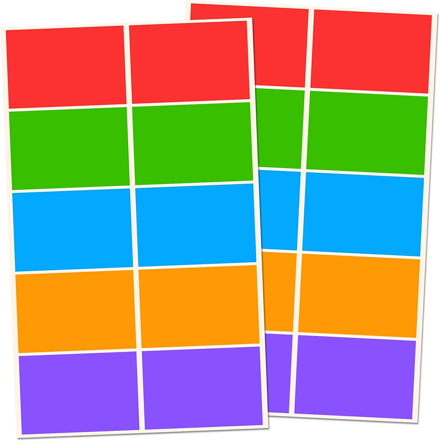 5 Colors 3 x 2 Rectangle Label Stickers Pack of 250