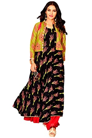 1a0793ccf4 Proprietary Women's Heavy Loan Cotton Kajal Style Fashion Printed Kurti (KSFL2_Large_Multi-Coloured)