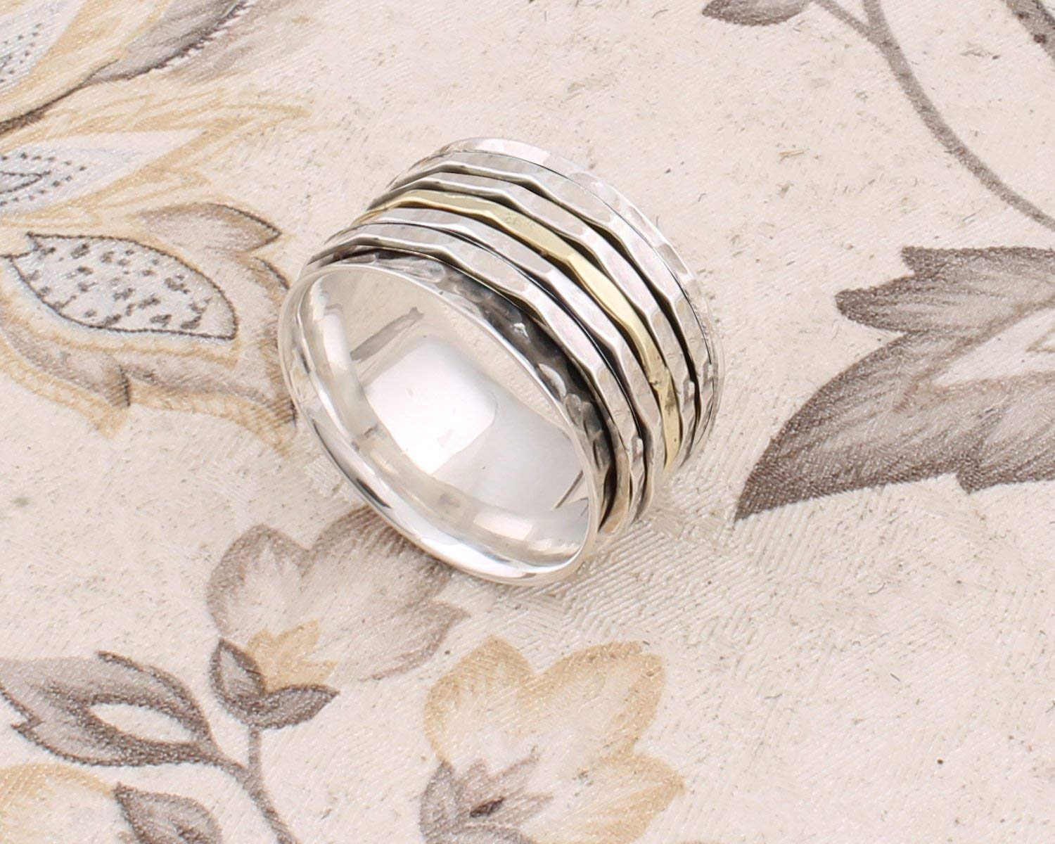 3 Tone Spinner Ring Beaded Spinner ring Thumb ring Gift Meditation Wide Band Silver Spinner Anxiety Ring Floral Texture Band Ring