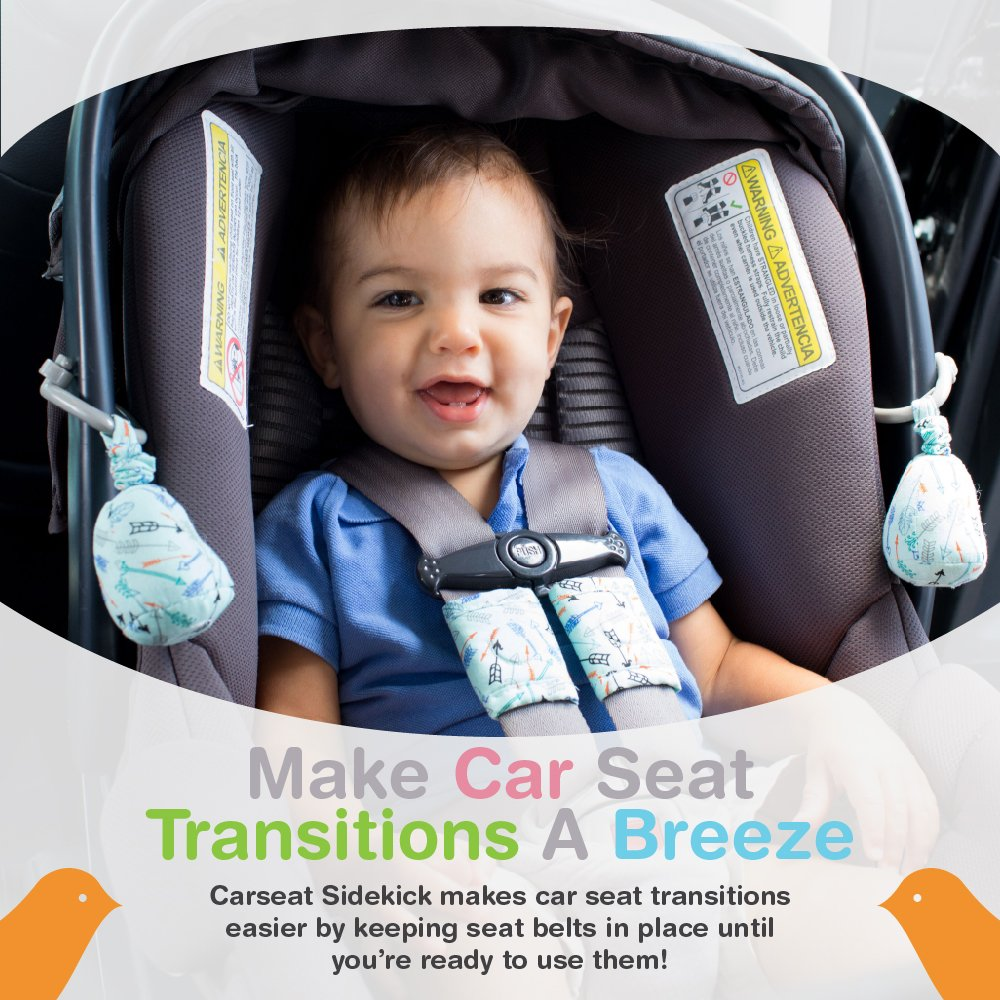 Designed for Infants Cars Seat Seatbelt Holder Carseat Sidekick Includes 2 Attachment Clips and 2 Magnetic Straps 2 Retractable Bells Pink