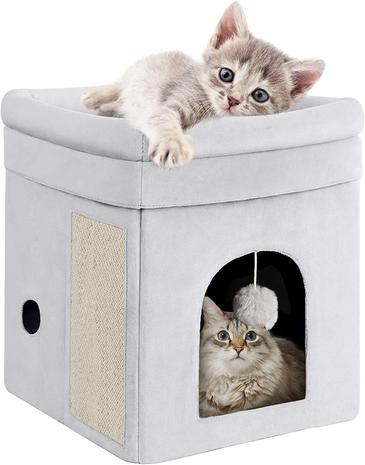 Mancro Cat House with Bed, Cat Cube Machine Washable Design, Foldable Cat Hiding Place with Cat Scratch Board & Cat Ball, Sturdy Construction and Non-Slip Indoor Cat Bed for Kitty 14x14x16inch, Grey