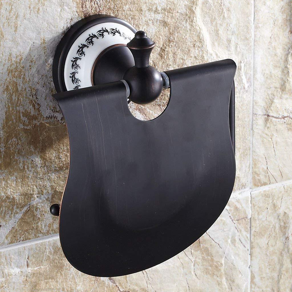 Paper Holder All Bronze Black Antique Paper Towel Holder Upscale Bathroom Ceramic Base Roll Holder Paper Container