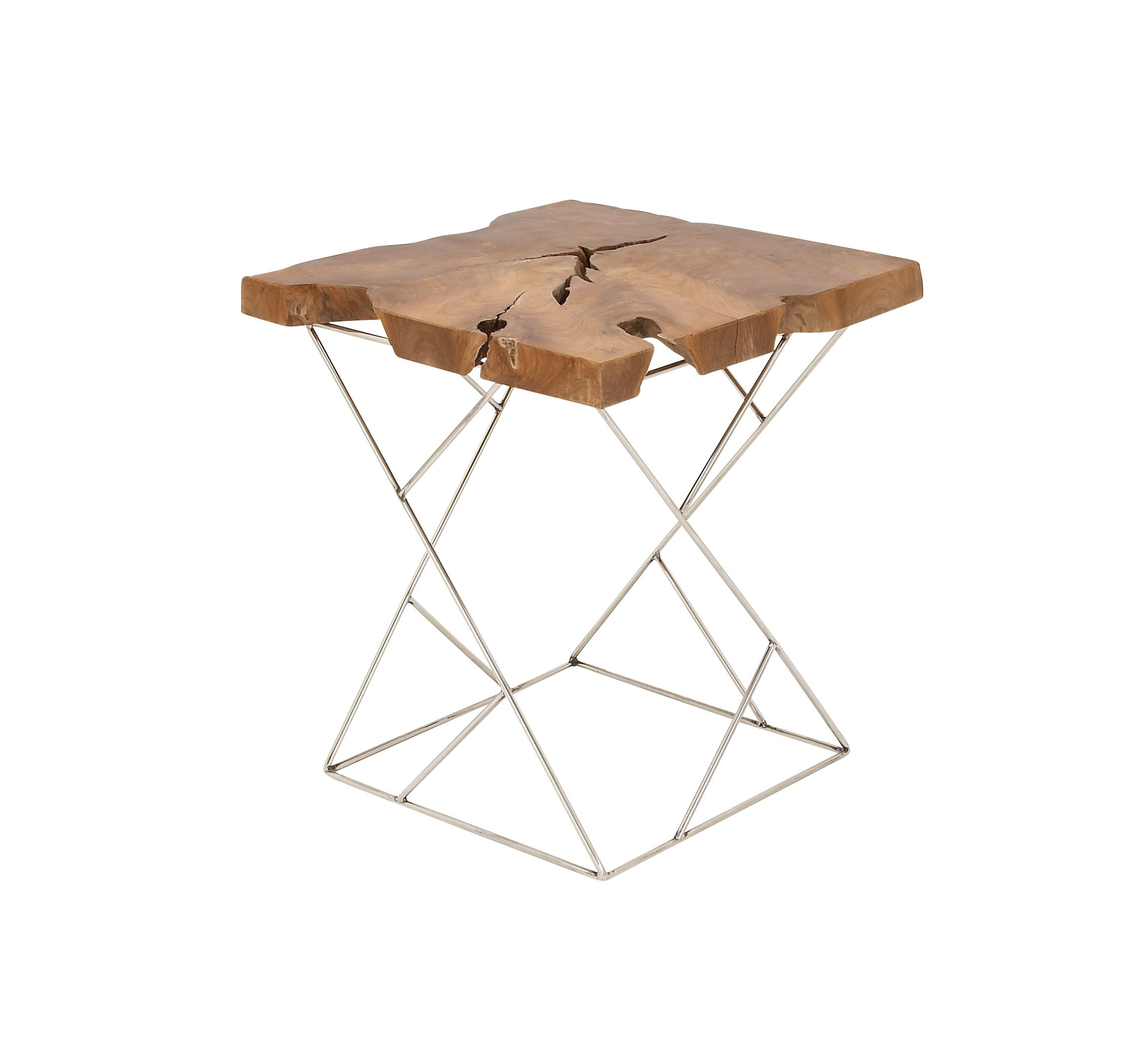 Benzara Antique Colonial Quirky Teak Metal Side Table, 21'' H x 19'' L, Natural Wood Brown and Silver