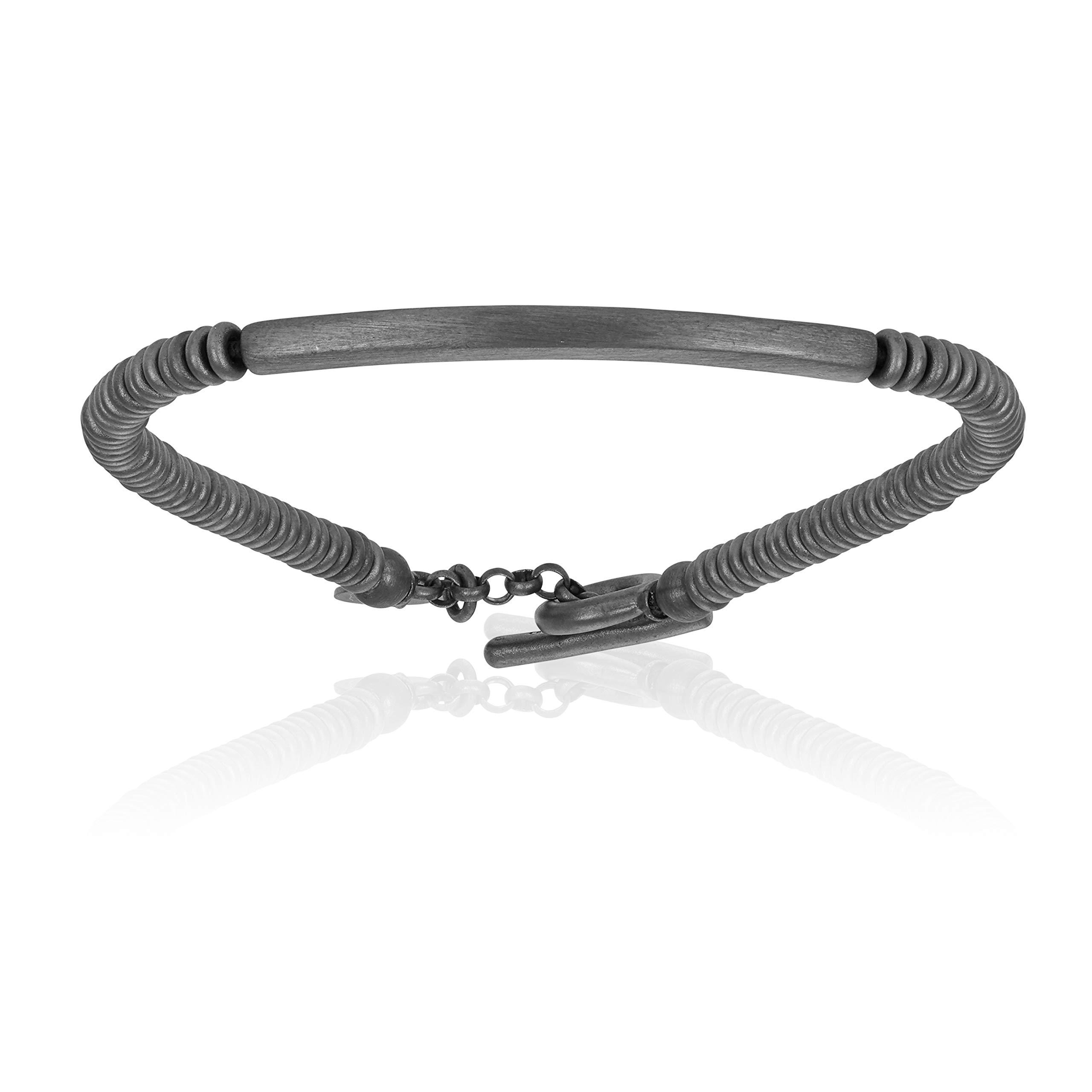 Double Bone Black PVD TAG Beads Bracelet (20)