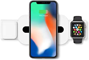 BLANCO Wireless Charger, 3 in 1 Wireless Charging Station for Apple Watch, AirPods Pro/Wireless Charging Station for iPhone 11 Pro Max/X/XS/XR/8Plus, Cargador inalambrico