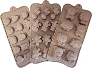 3 Pack Animal Shape Chocolate Candy Molds Set , Food Grade Silicone Baking Mold Ice Cube Tray for Chocolate, Candy, Cupcakes,Jelly, Pudding, Muffin - Dinosaurs, Lions, Bears, etc.