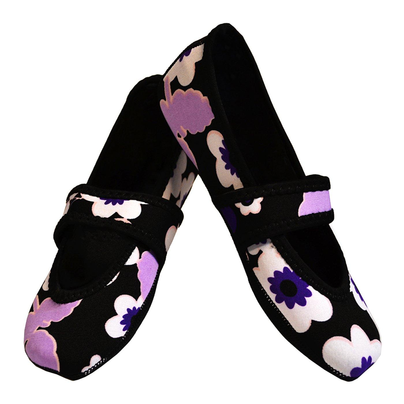 Nufoot Betsy Lou Women's Shoes, Best Foldable & Flexible Flats, Slipper Socks, Travel Slippers & Exercise Shoes, Dance Shoes, Yoga Socks, House Shoes, Indoor Slippers, Purple Flowers, Large