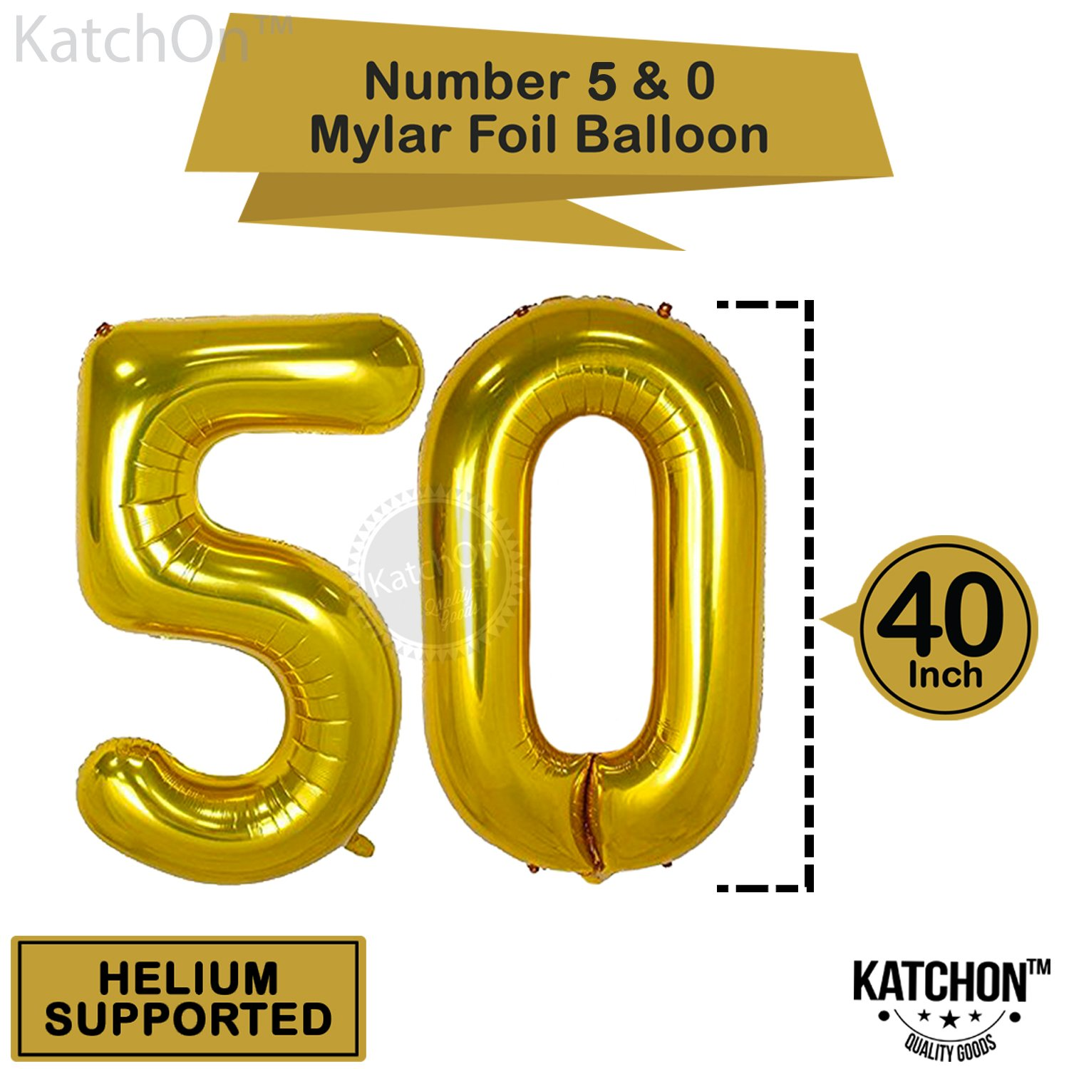 KATCHON Gold 50th Birthday Decorations Kit Large Pack Of 26