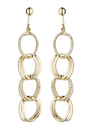 Clip On Earrings - Gold Plated With Linked Hoops - Kadisha G by Bello London y5SEm