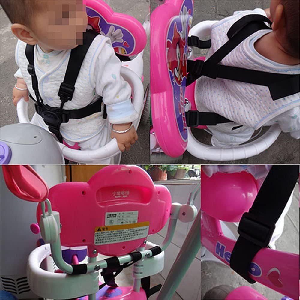 Black 5 Point Child Harness Protection Strap,Adjustable Swivel Hook Baby Seat Belt for Stroller High Chair,Pram Buggy,Pushchair
