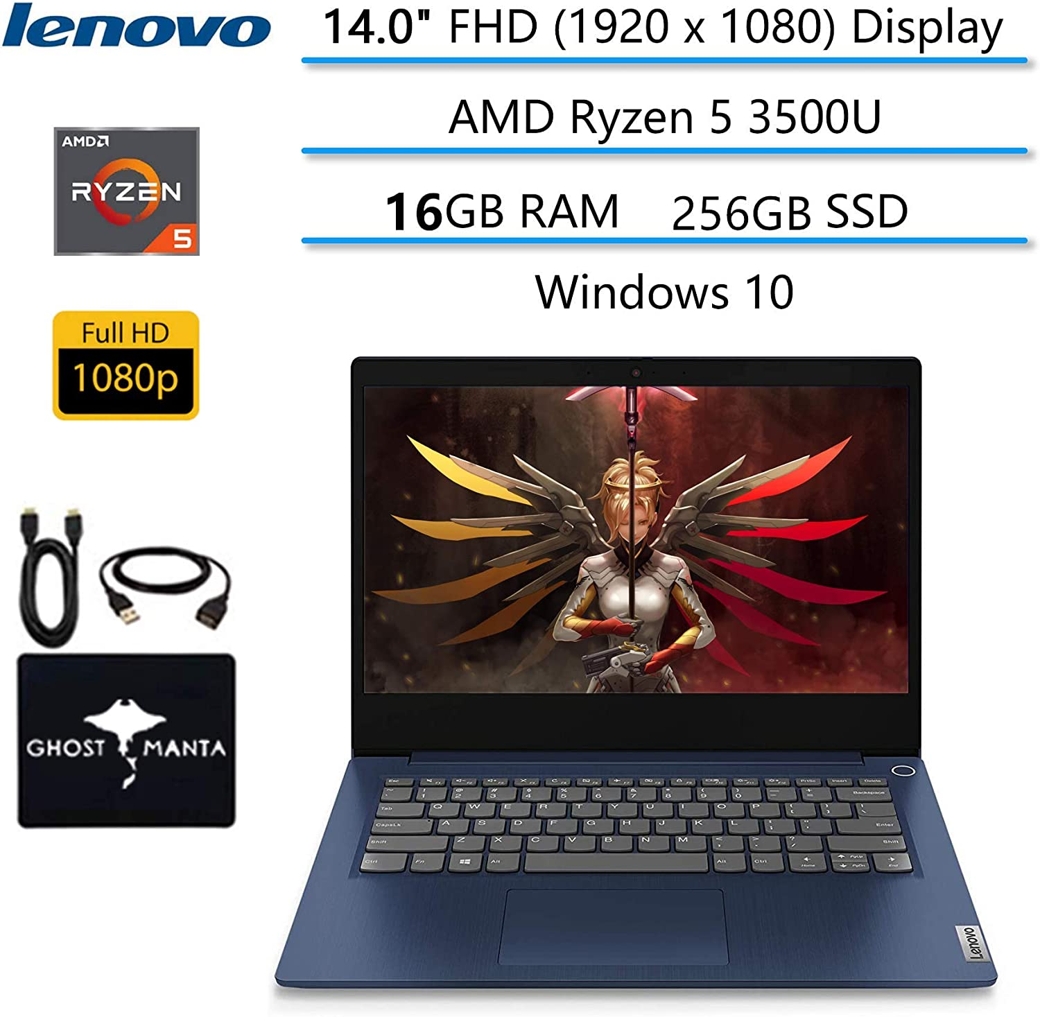 "2020 Newest Lenovo IdeaPad 14"" FHD Business Laptop Computer, AMD Ryzen 5 3500U(Beat i7-8550U), AMD Radeon Vega 8, HDMI Bluetooth, Windows 10 w/Ghost Manta Accessories (16GB RAM 