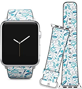 Compatible with Apple Watch (38/40 mm) Series 5, 4, 3, 2, 1 // Leather Replacement Bracelet Strap Wristband + Adapters // Big Collection Medical Tools