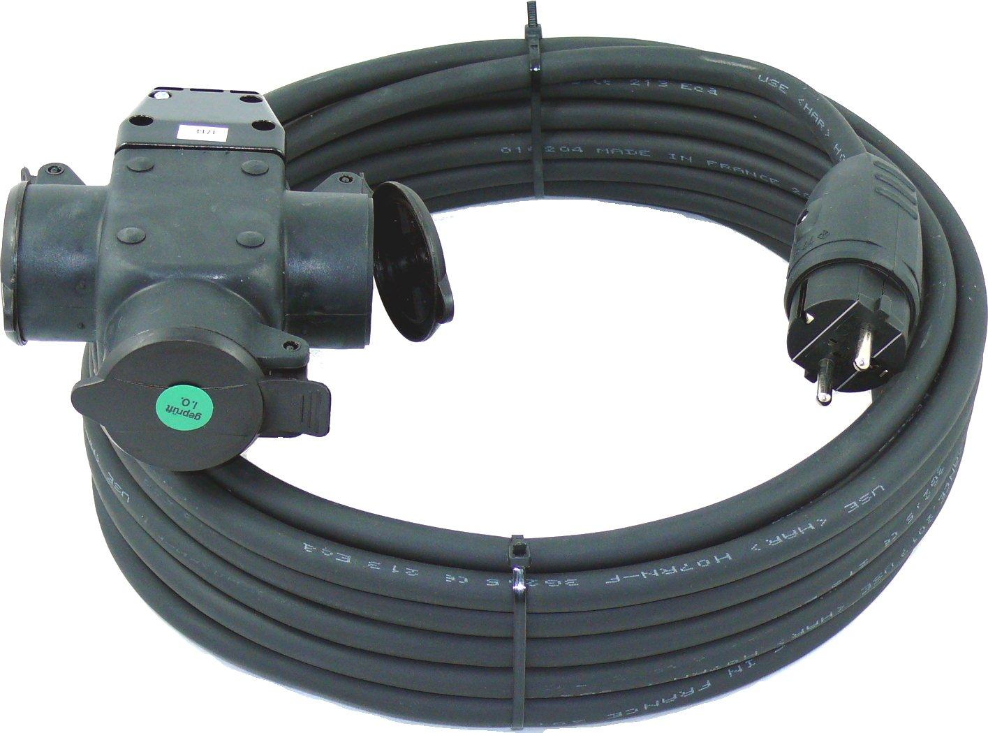 netbote24® Schuko-Verlängerungskabel mit 3-Fach Kupplung H07RN-F 3x2, 5 mm² (IP44 - Außenbereich) AC 230V/16A 5-50m (5m) maxgo