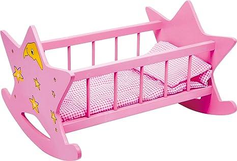 2865 Culla per bambole in legno Stella small foot, culla rosa con