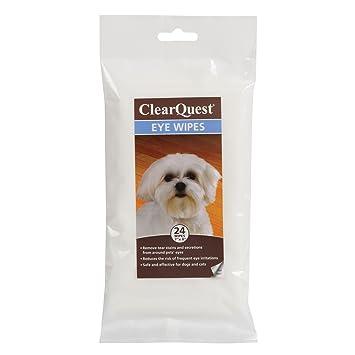 ClearQuest ojo toallitas, toallitas fácil de usar que extraer Tear manchas y secretions de alrededor de perros y gatos de ojos, 24-Pack: Amazon.es: ...