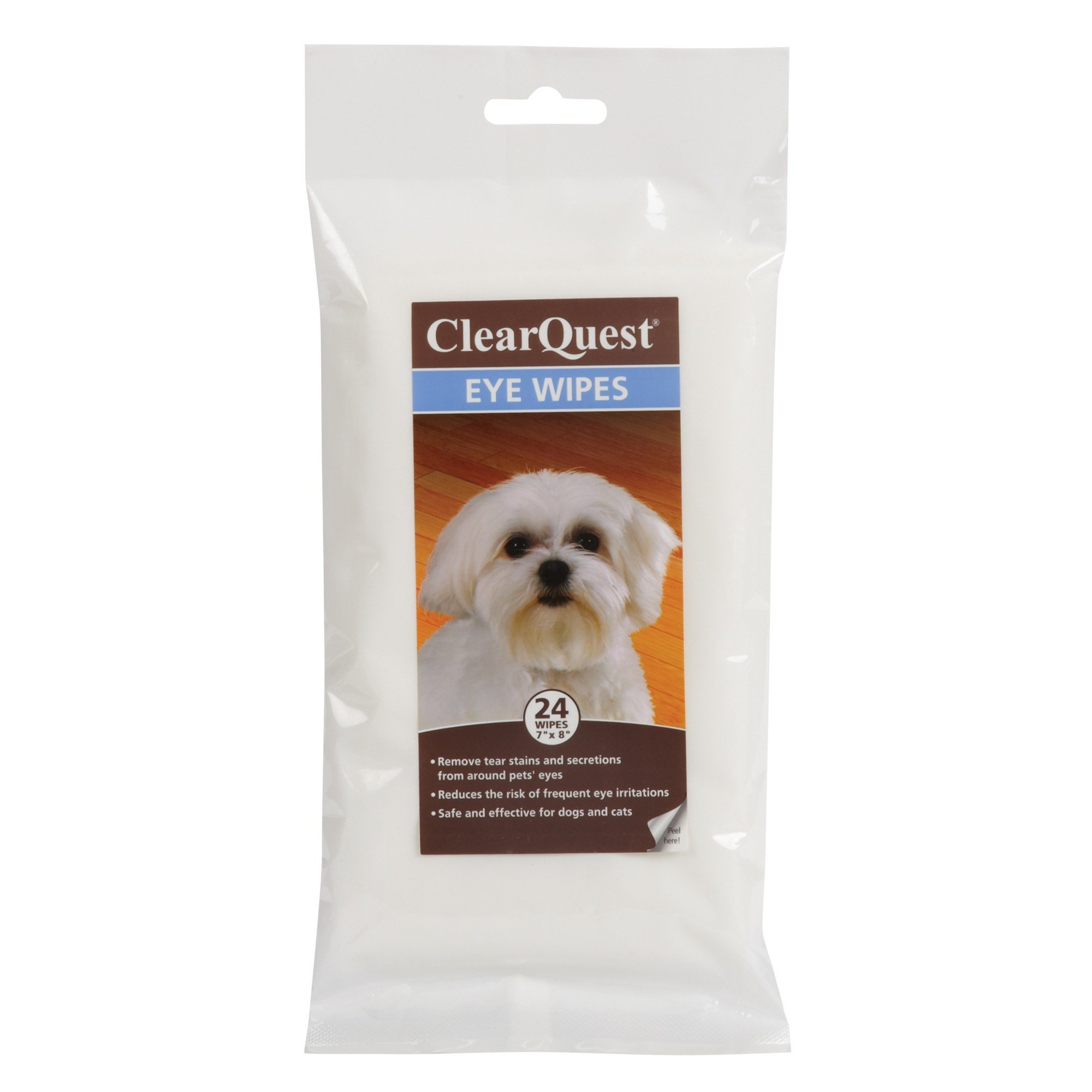 ClearQuest Eye Wipes — Easy-to-Use Wipes that Gently Remove Tear Stains and Secretions from Around Dogs' and Cats' Eyes, 24-Pack