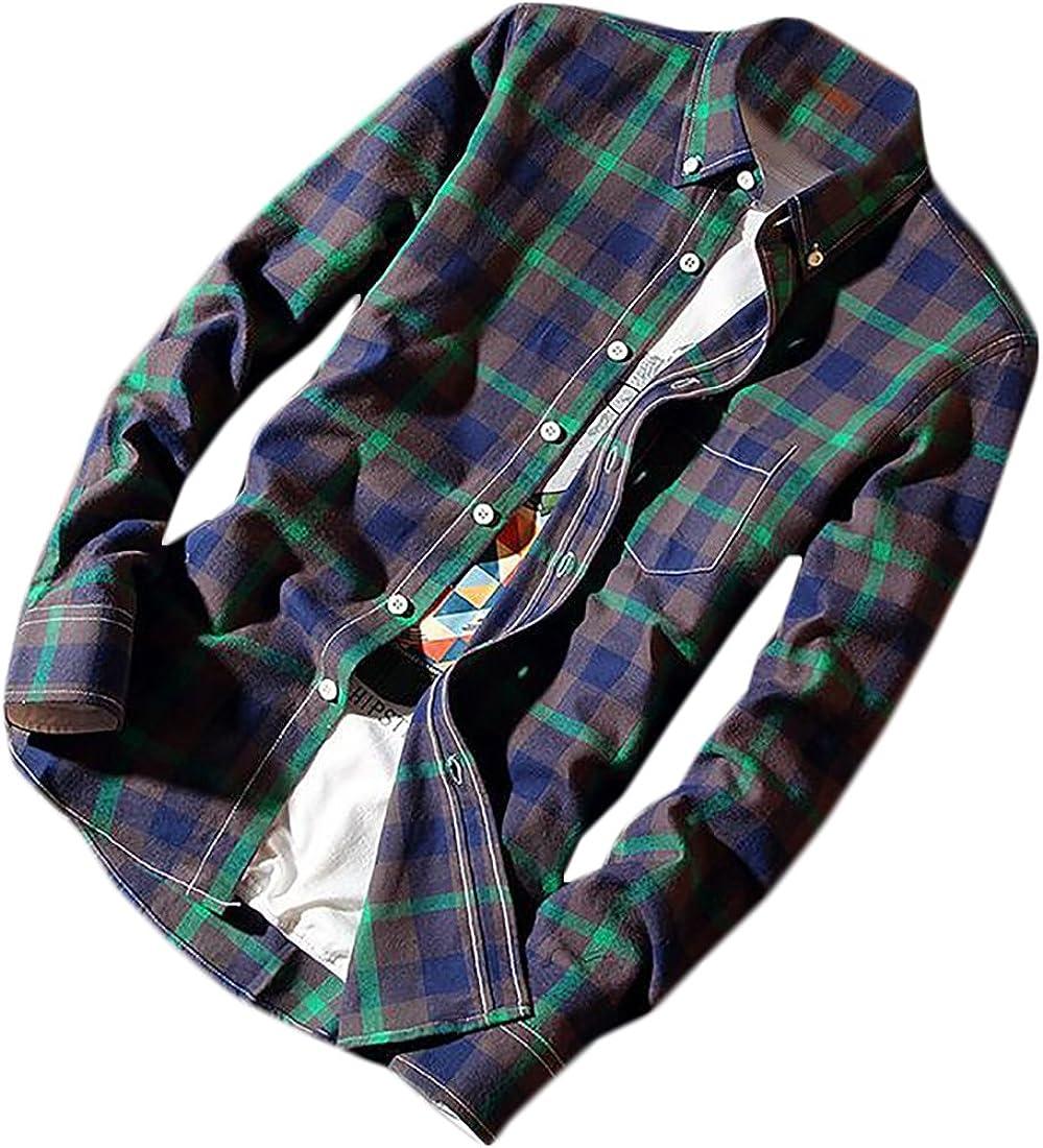Jmwss QD Mens Lapel Long Sleeve Button Down Cotton Plaid Casual Shirts Tops