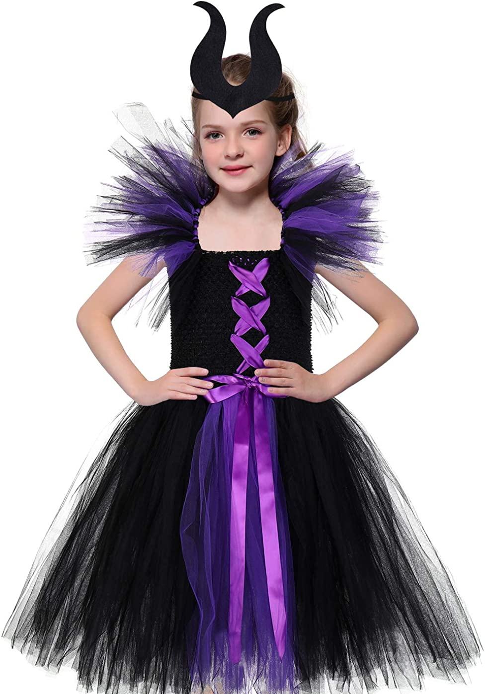 Tutu Dreams Halloween Vampire Witch Costume for Girls 1-12Y with Horns Headband