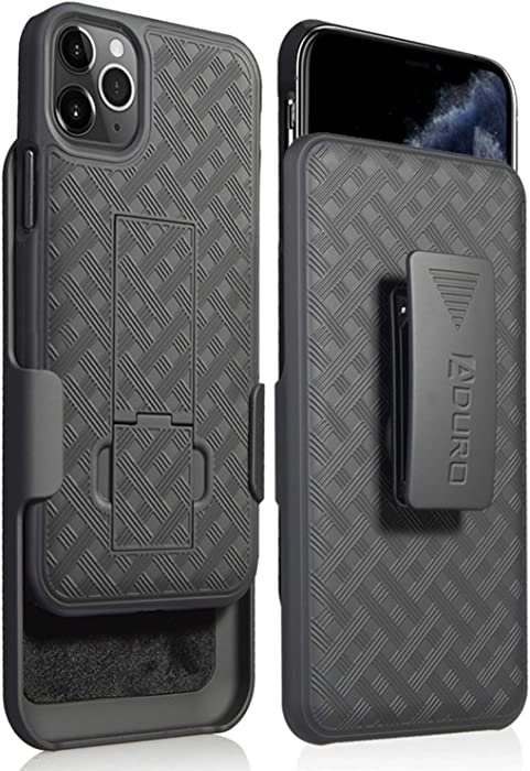 Aduro iPhone 11 Pro (ONLY) Holster Case, Combo Shell & Holster Case - Super Slim Shell Case with Built-in Kickstand, Swivel Belt Clip Holster for Apple iPhone 11 Pro (ONLY)