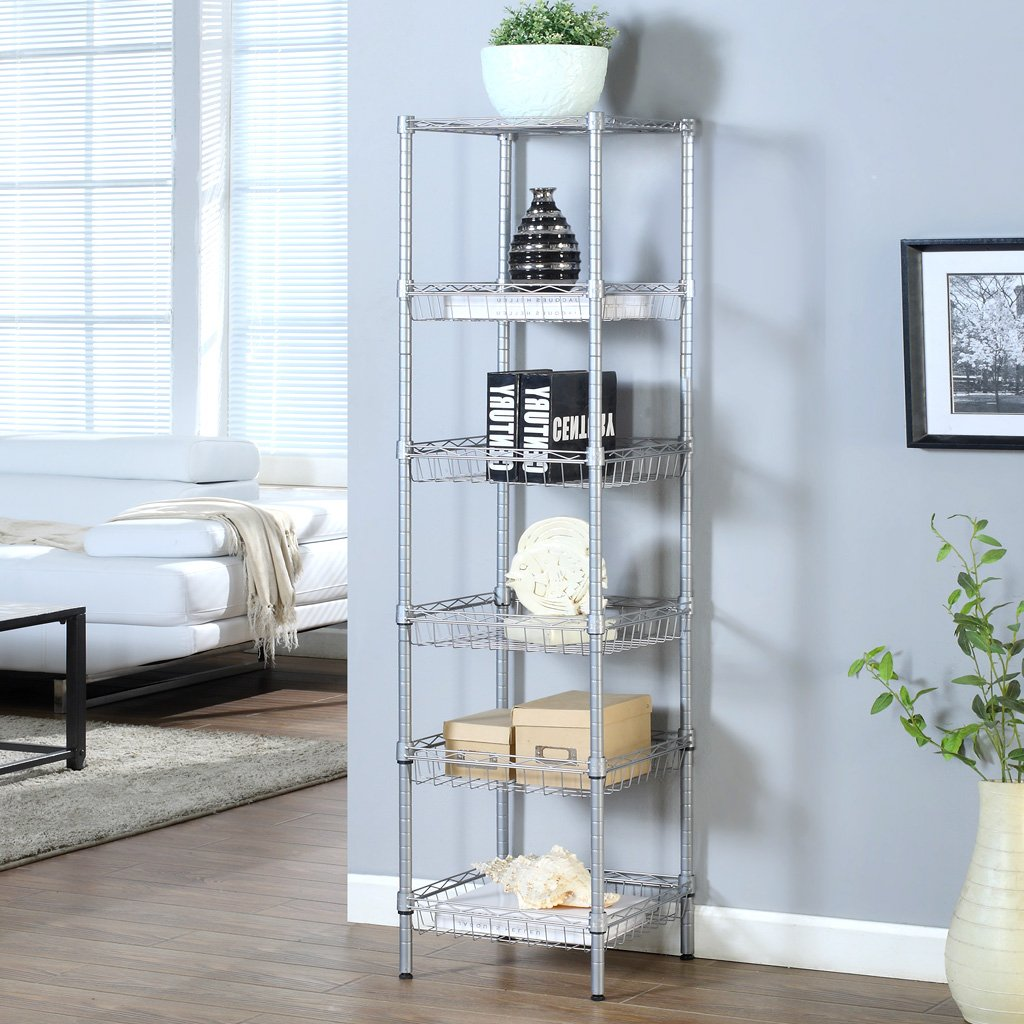 LANGRIA 6-Tier Wire Shelving Unit with Baskets, Storage Organization ...