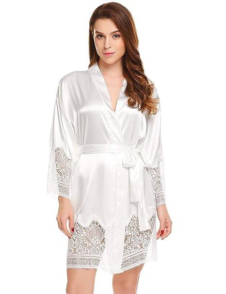 Bata De Satén para Mujer Wave Hem Satinada Casuales Kimono Mujeres con Camisón De Encaje Muy Suave Y Suave Bata De Seda Noche Suave Cálido SH: Amazon.es: ...