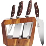 WALLOP Kitchen Knife Set 7-Piece with Wooden Block, German 1.4116 HC Steel and Triple Rivet Pakkawood Handle…