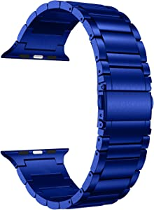 LDFAS Compatible for Apple Watch Band 44mm 42mm, Solid Stainless Steel Metal Link Bracelet Bands Replacement for iWatch Strap Compatible for Apple Watch SE Series 6/5/4/3, Blue