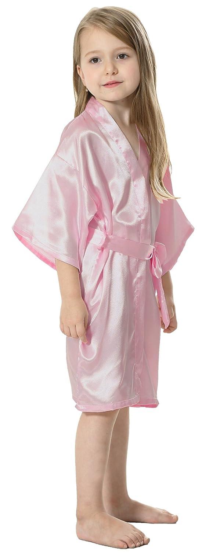 8467ffef66 Amazon.com  JOYTTON Kids  Satin Rayon Kimono Robe Bathrobe For Spa Party  Wedding Birthday  Clothing