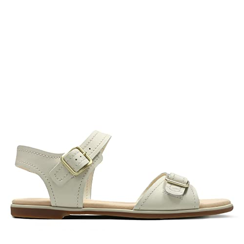 Clarks Bay Primrose Leather Sandals In White Standard Fit Size 3