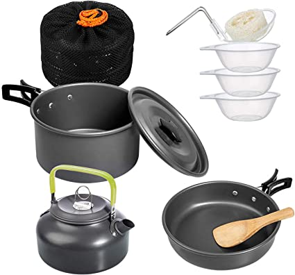 Portable Lightweight Backpacking Camping Cooking Pot with Lid /& Carry Bag