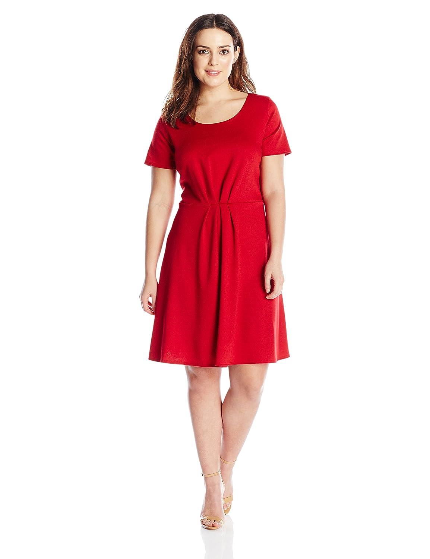 Star Vixen Women's Plus-Size Short Sleeve Starburst-Cinch Pleat Ponte Skater Dress Star Vixen Child Code 3806-PTX
