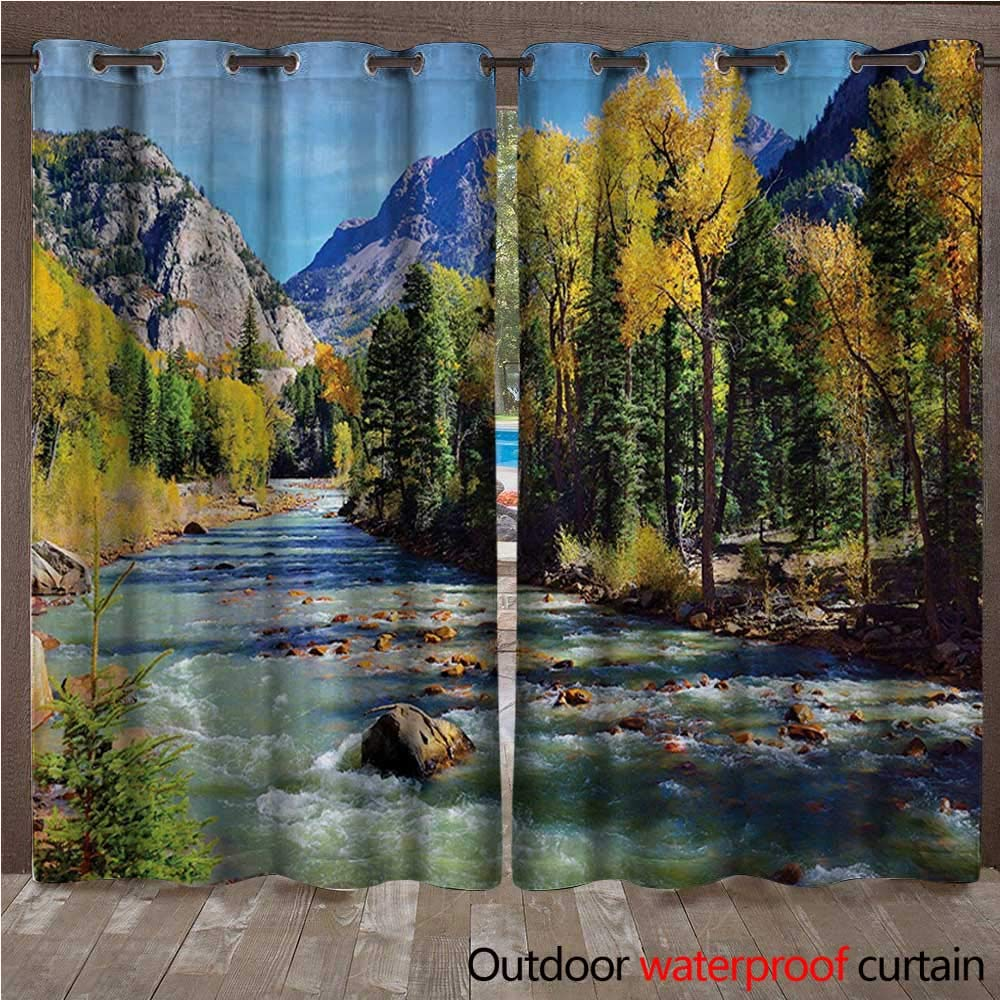 WilliamsDecor Landscape Outdoor Curtain for Patio Mountains of Colorado with Lush Forest and River Summer Foliage Idyllic Photo W96 x L96(245cm x 245cm)