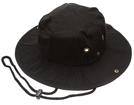 ab85637f0ab Summer Outdoor Boonie Hunting Fishing Safari Bucket Sun Hat with Adjustable  Strap(Black