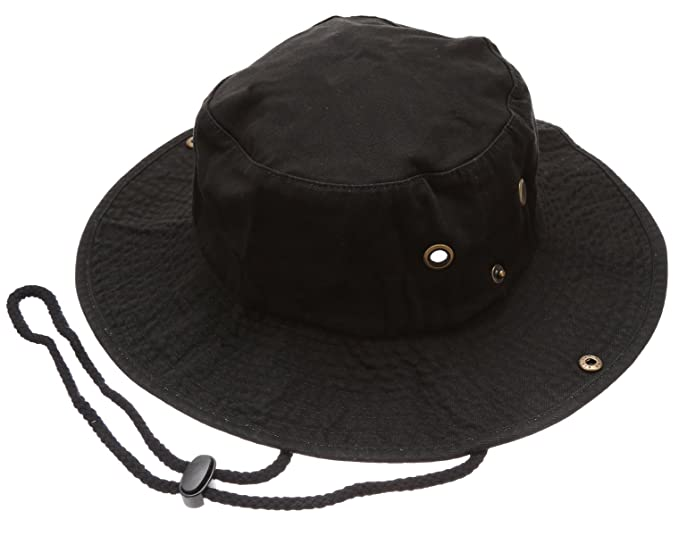 f74f98c8012 Summer Outdoor boonie Hunting Fishing Safari Bucket Sun Hat With Adjustable  Strap(Black
